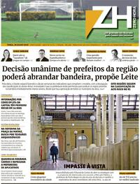Capa do jornal Zero Hora 28/07/2020