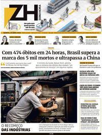 Capa do jornal Zero Hora 29/04/2020