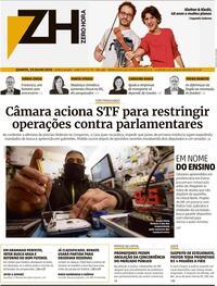 Capa do jornal Zero Hora 29/07/2020