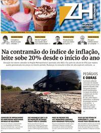 Capa do jornal Zero Hora 29/08/2020