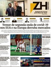 Capa do jornal Zero Hora 29/10/2020
