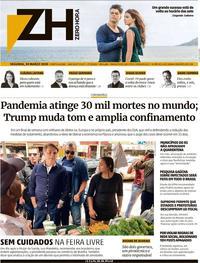 Capa do jornal Zero Hora 30/03/2020