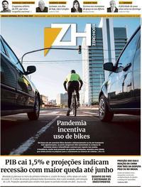 Capa do jornal Zero Hora 30/05/2020
