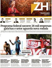 Capa do jornal Zero Hora 30/07/2020