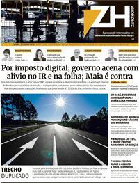 Capa do jornal Zero Hora 31/07/2020