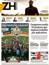 Capa do jornal Zero Hora 31/08/2020