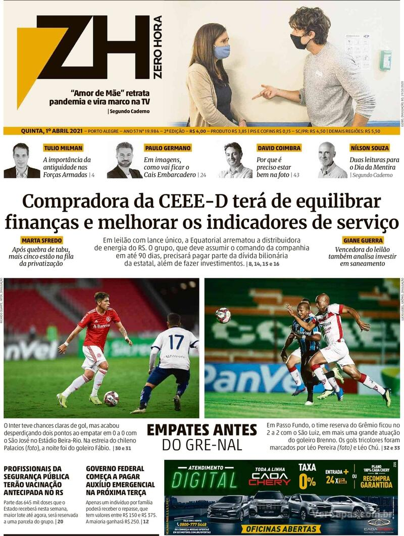 Capa do jornal Zero Hora 01/04/2021