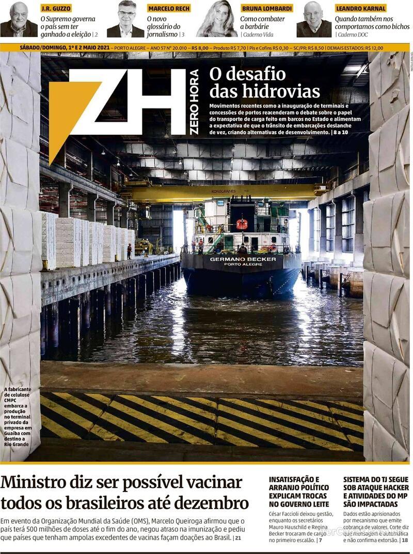 Capa do jornal Zero Hora 01/05/2021