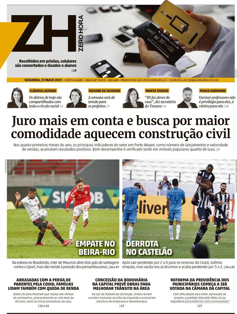 Capa do jornal Zero Hora 01/06/2021