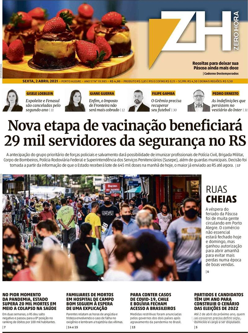 Capa do jornal Zero Hora 02/04/2021