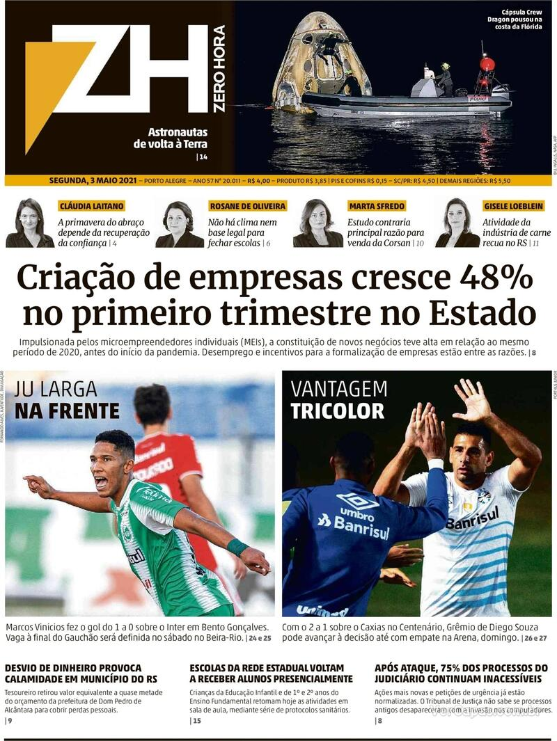 Capa do jornal Zero Hora 03/05/2021