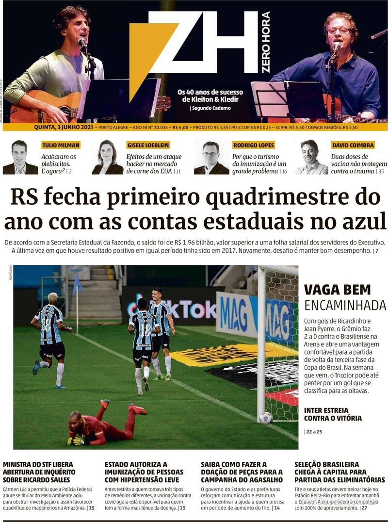 Capa do jornal Zero Hora 03/06/2021