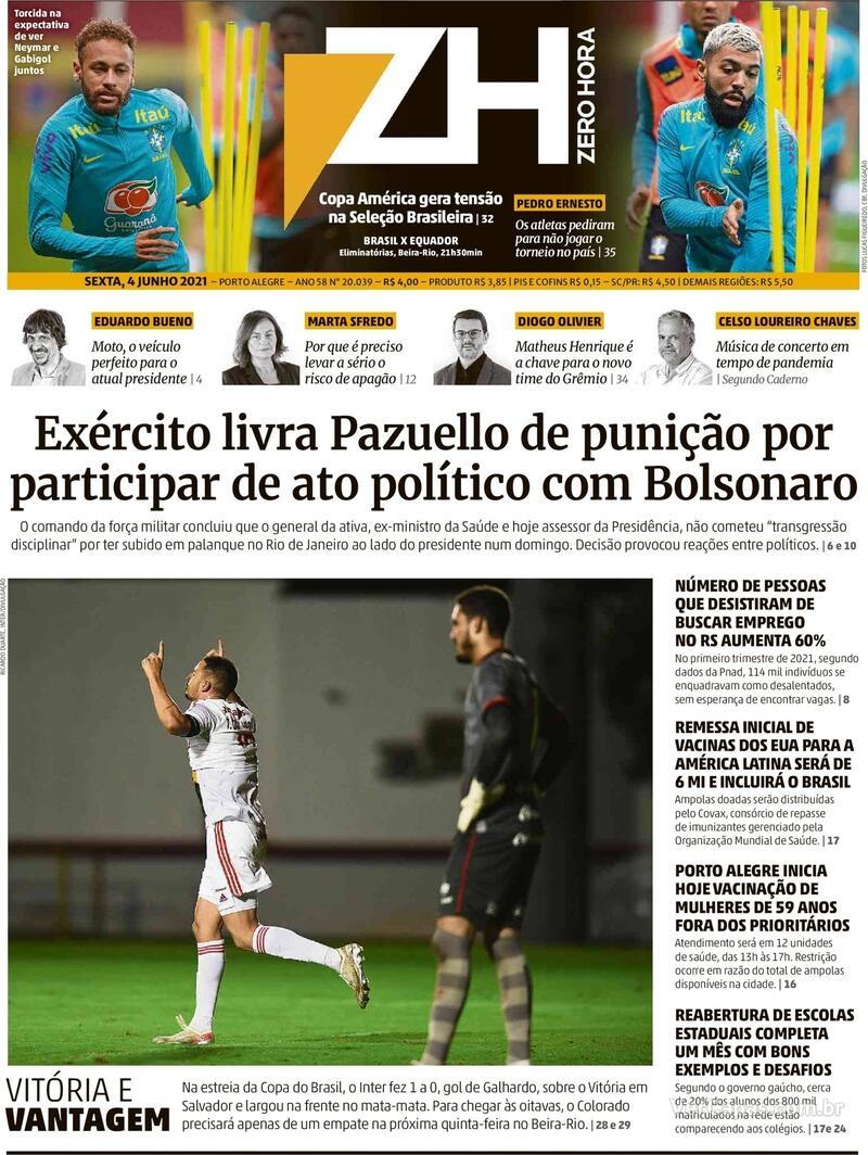 Capa do jornal Zero Hora 04/06/2021