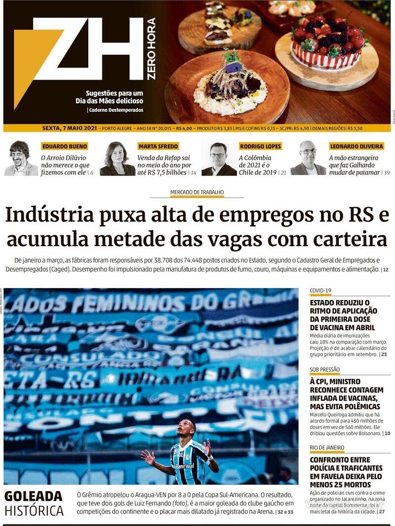 Capa do jornal Zero Hora 07/05/2021