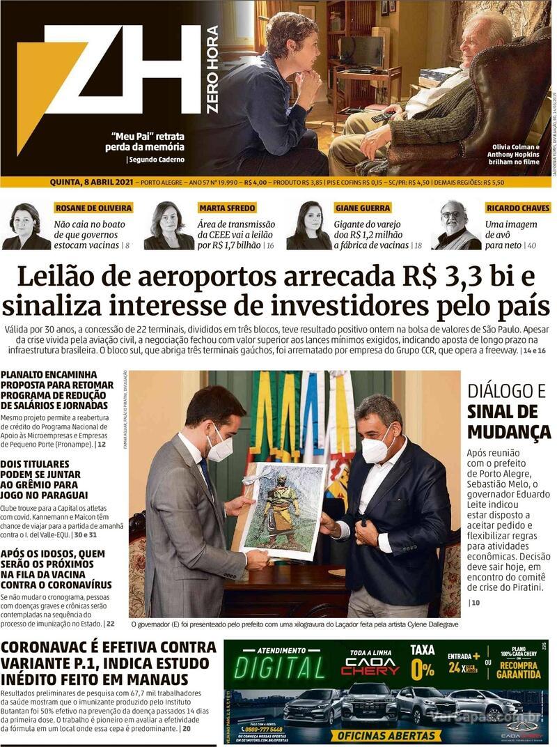 Capa do jornal Zero Hora 08/04/2021
