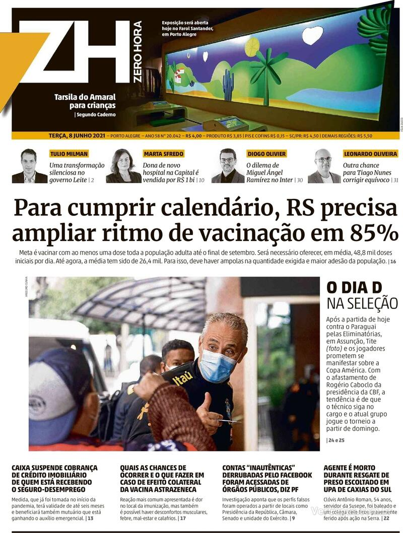 Capa do jornal Zero Hora 08/06/2021