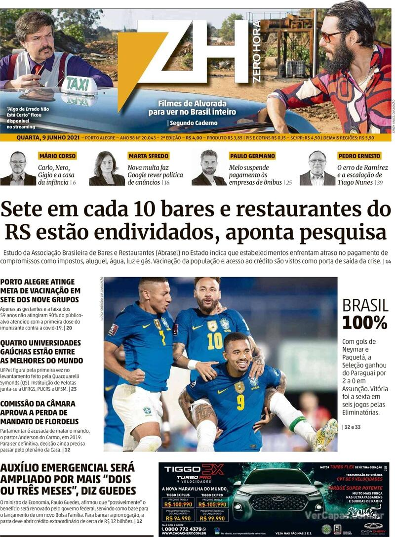 Capa do jornal Zero Hora 09/06/2021