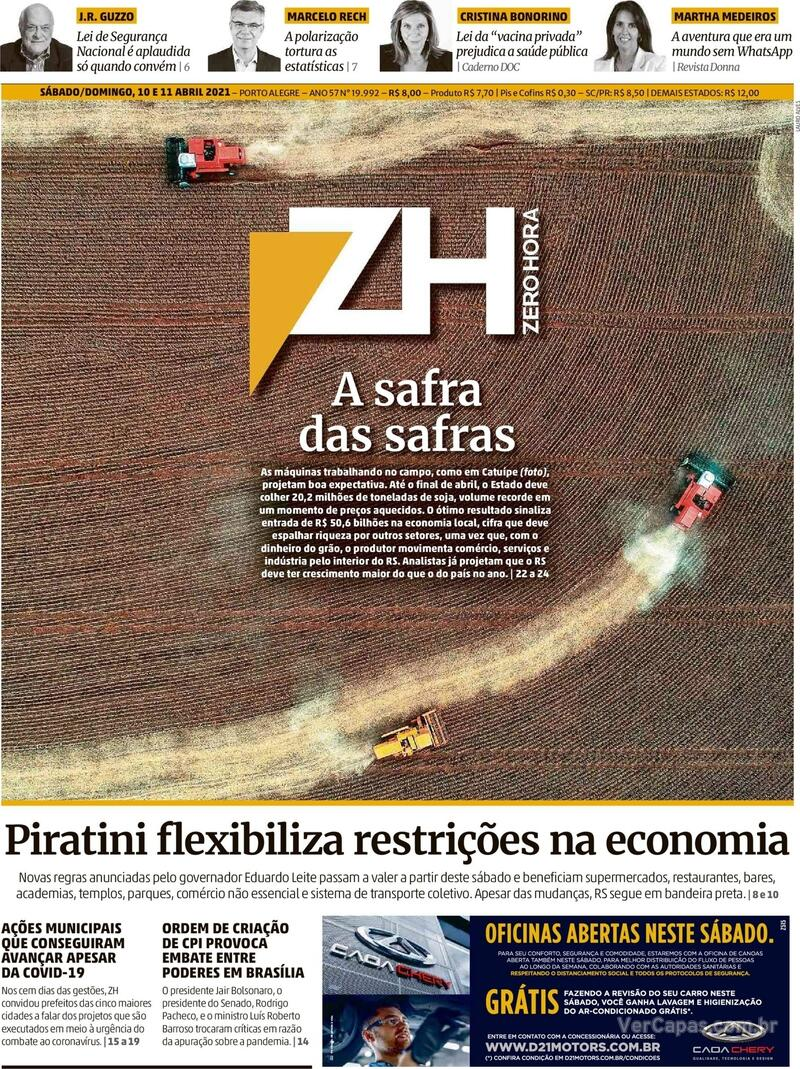Capa do jornal Zero Hora 10/04/2021