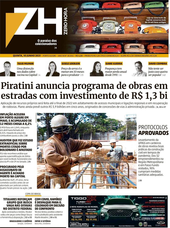 Capa do jornal Zero Hora 10/06/2021