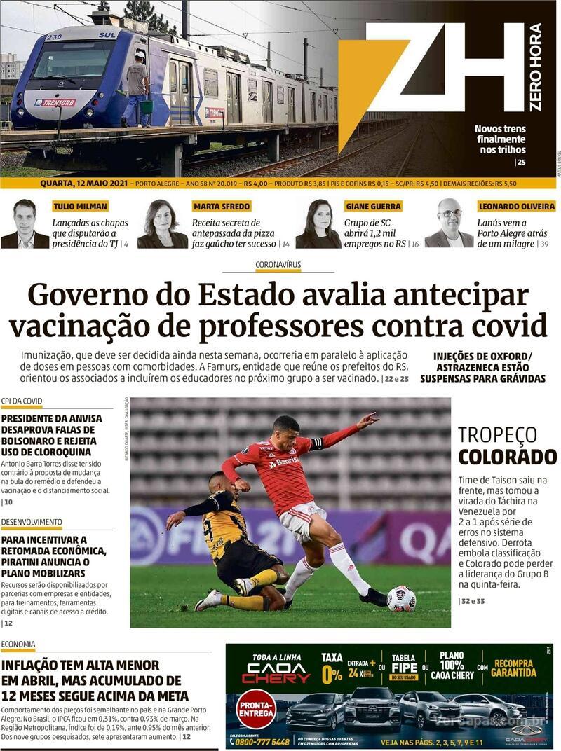 Capa do jornal Zero Hora 12/05/2021