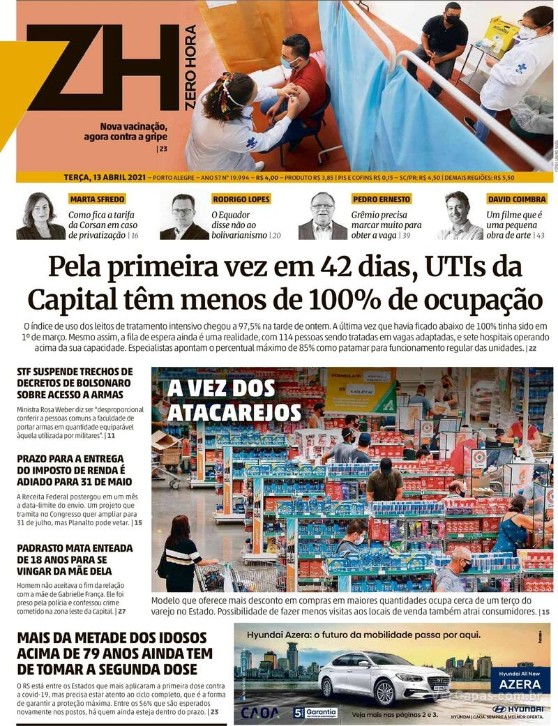 Capa do jornal Zero Hora 13/04/2021