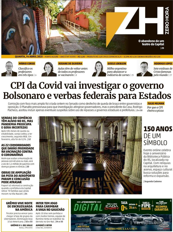 Capa do jornal Zero Hora 14/04/2021