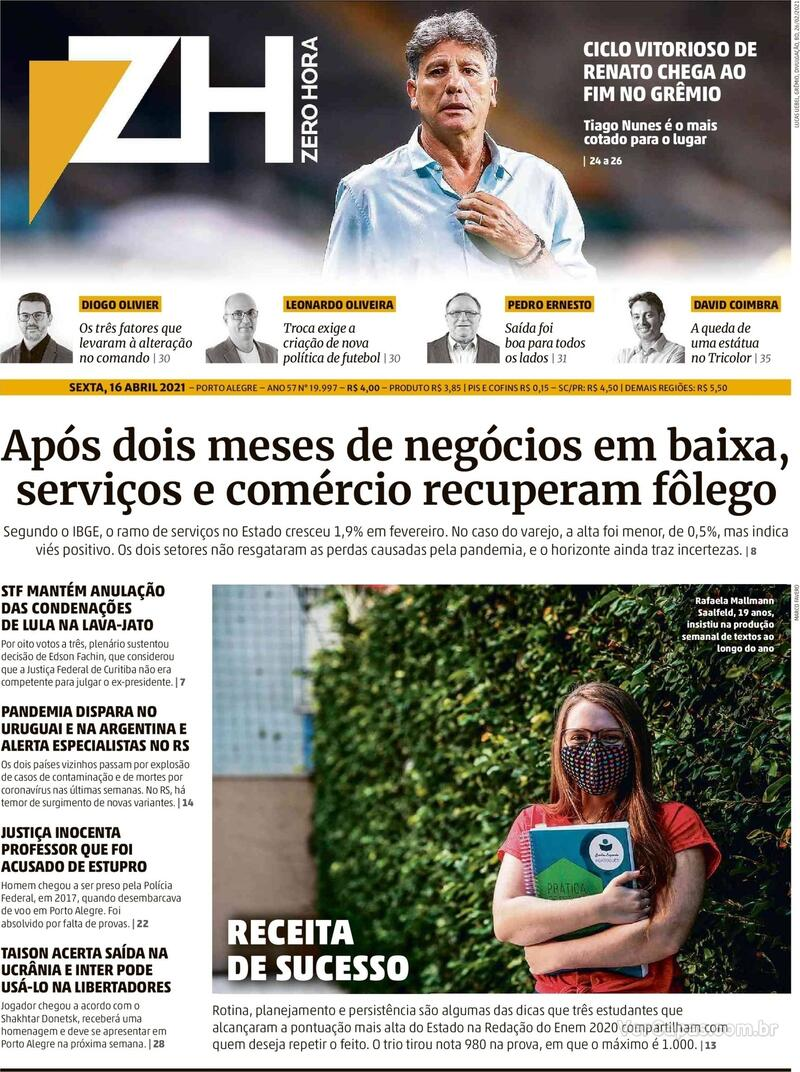 Capa do jornal Zero Hora 16/04/2021