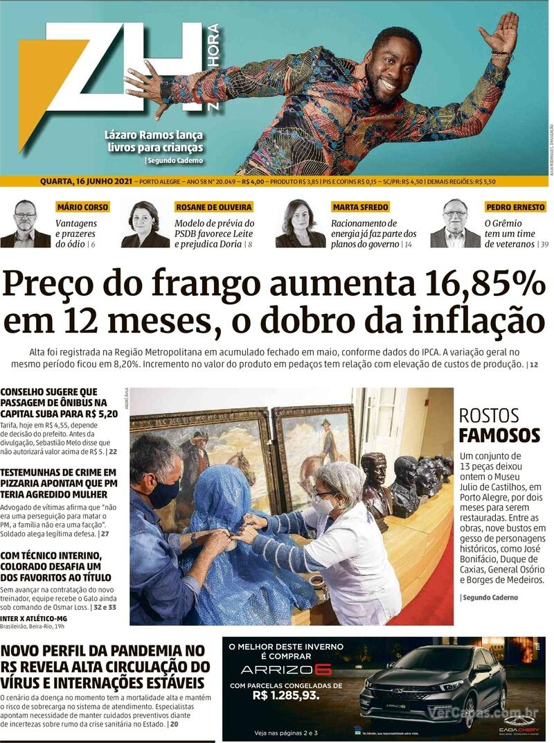 Capa do jornal Zero Hora 16/06/2021