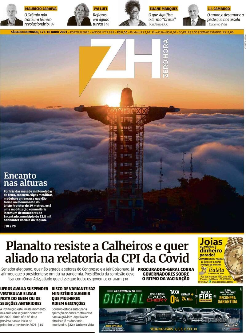 Capa do jornal Zero Hora 17/04/2021
