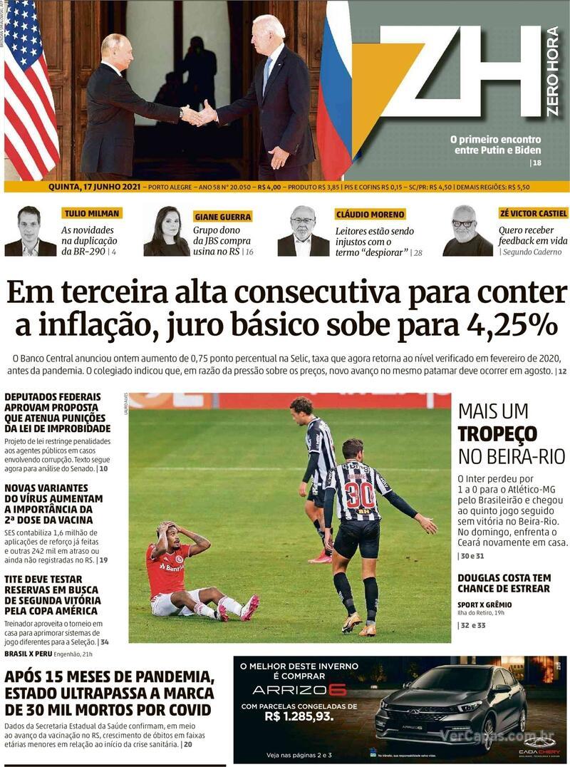 Capa do jornal Zero Hora 17/06/2021