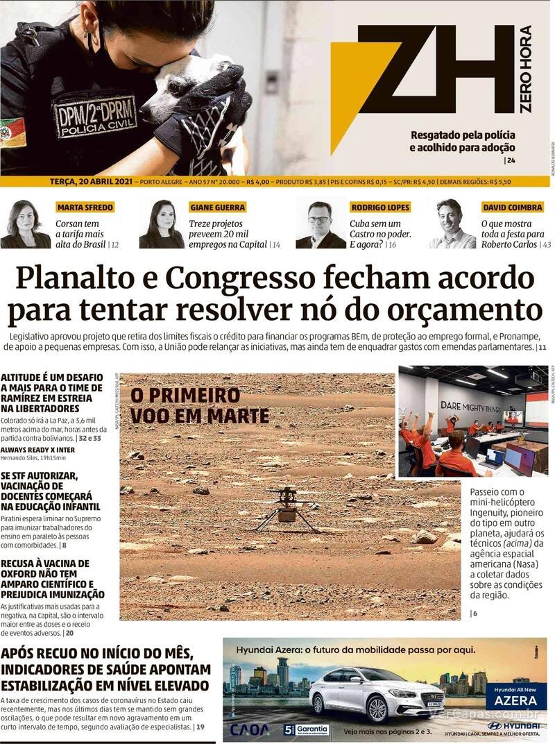 Capa do jornal Zero Hora 20/04/2021