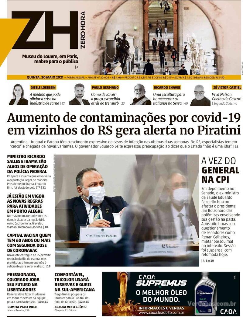 Capa do jornal Zero Hora 20/05/2021