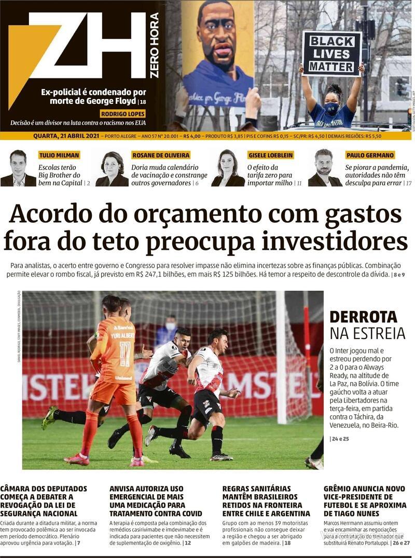 Capa do jornal Zero Hora 21/04/2021