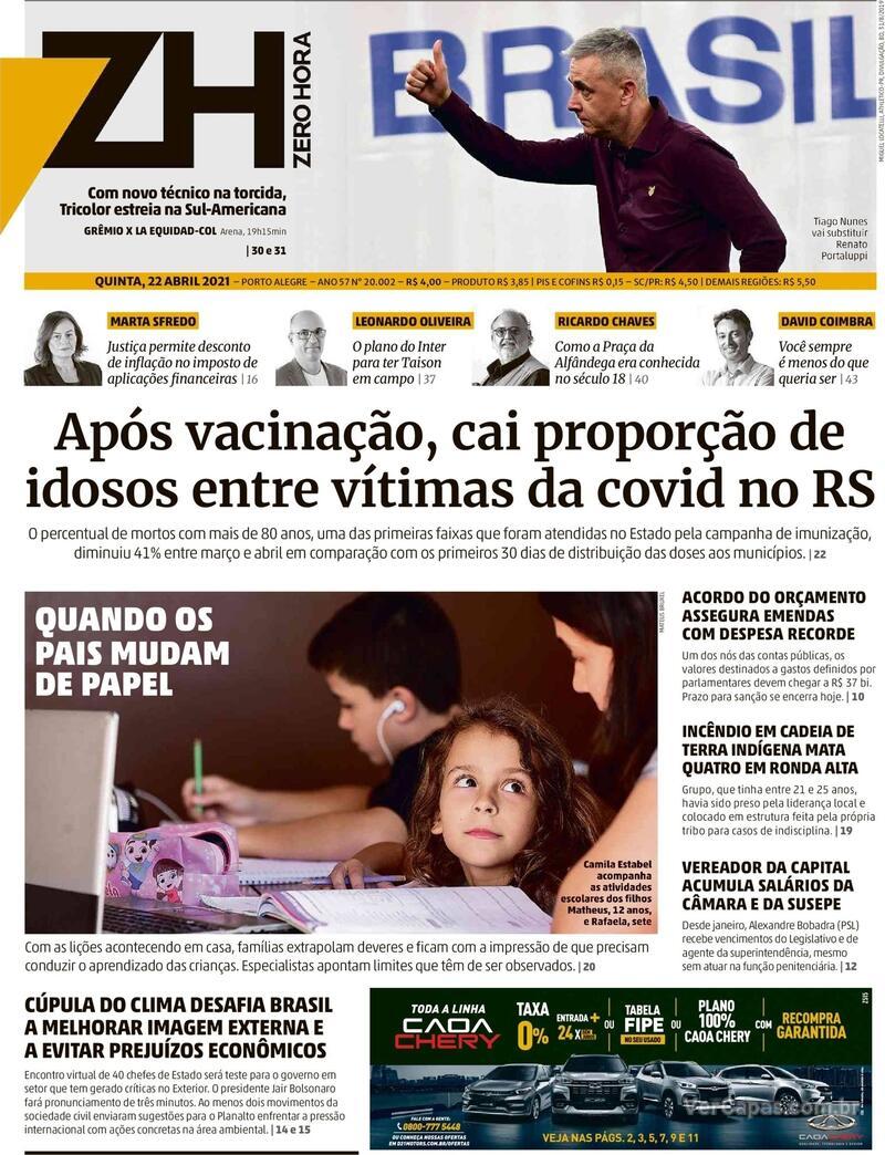 Capa do jornal Zero Hora 22/04/2021