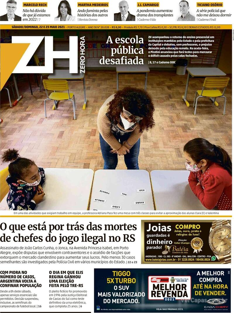 Capa do jornal Zero Hora 22/05/2021