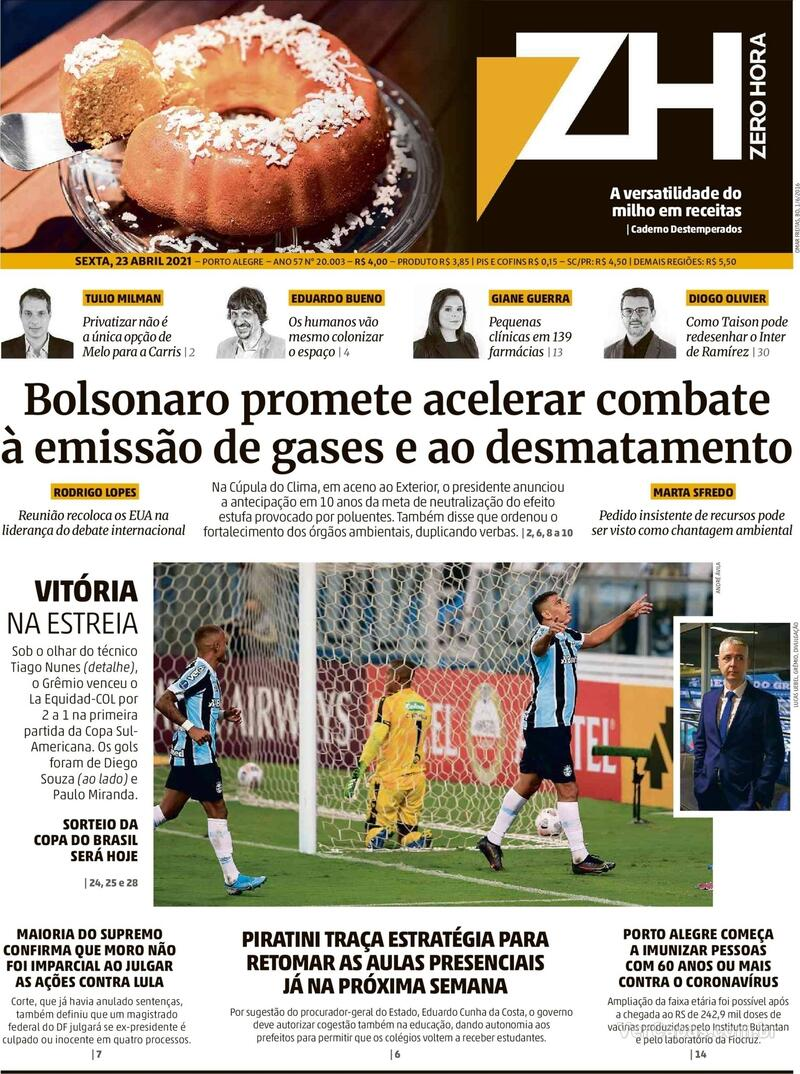 Capa do jornal Zero Hora 23/04/2021