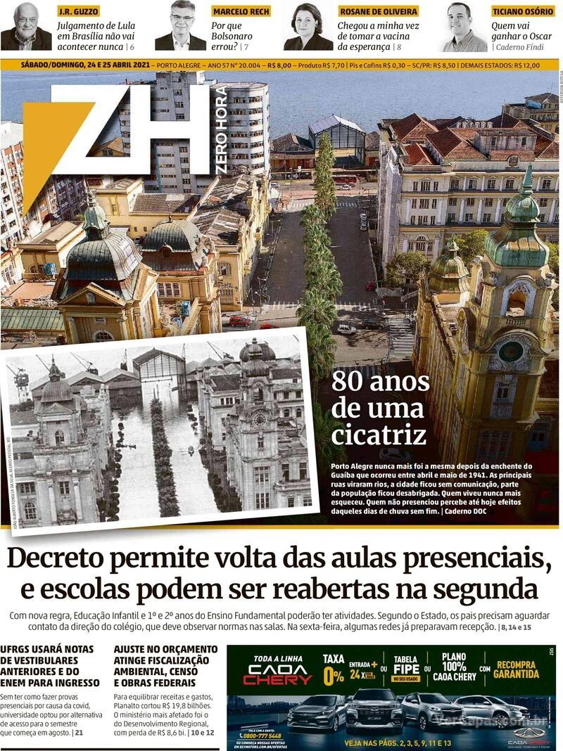 Capa do jornal Zero Hora 24/04/2021
