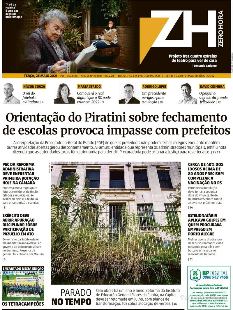 Capa do jornal Zero Hora 25/05/2021