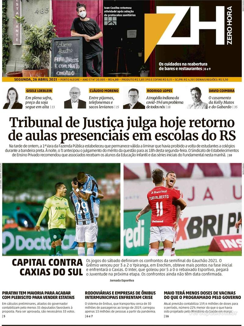 Capa do jornal Zero Hora 26/04/2021