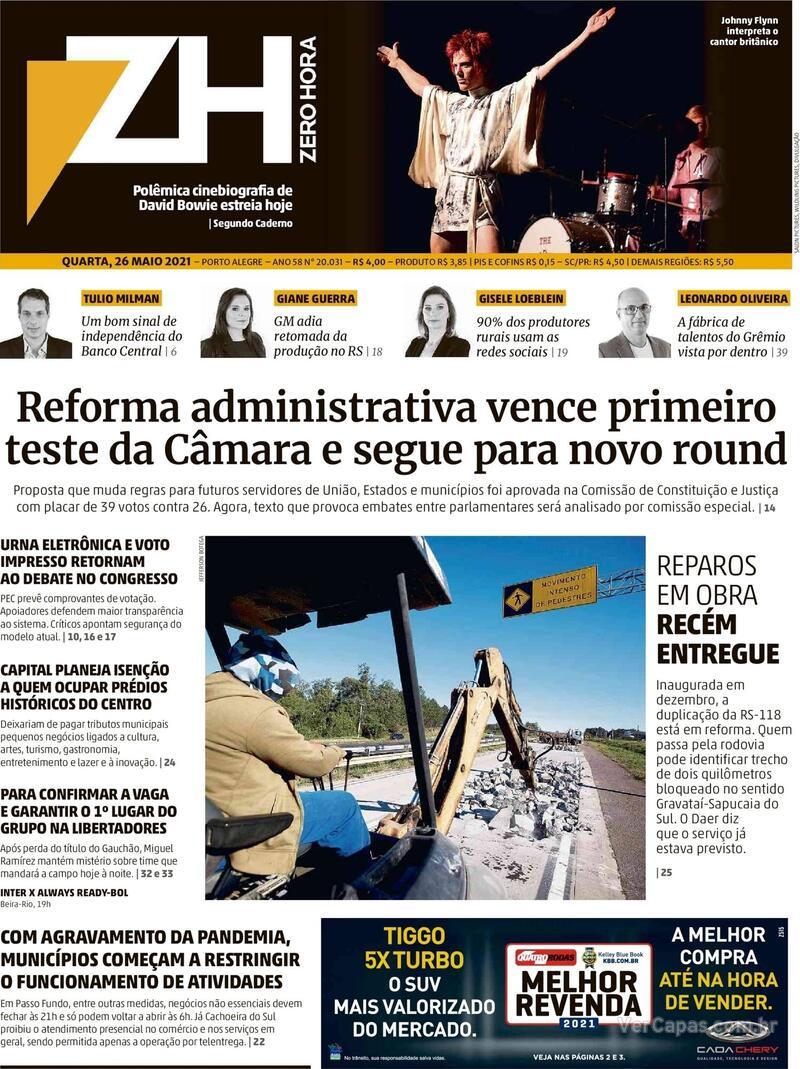 Capa do jornal Zero Hora 26/05/2021