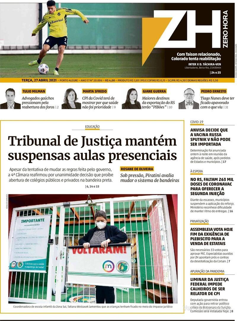 Capa do jornal Zero Hora 27/04/2021