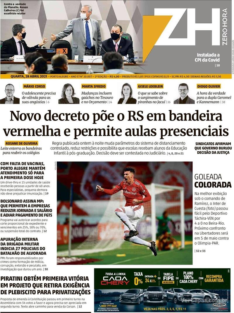 Capa do jornal Zero Hora 28/04/2021