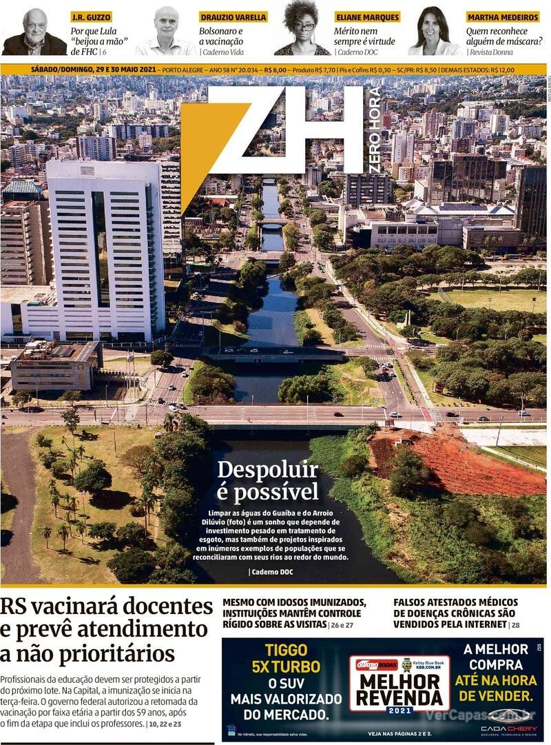 Capa do jornal Zero Hora 29/05/2021