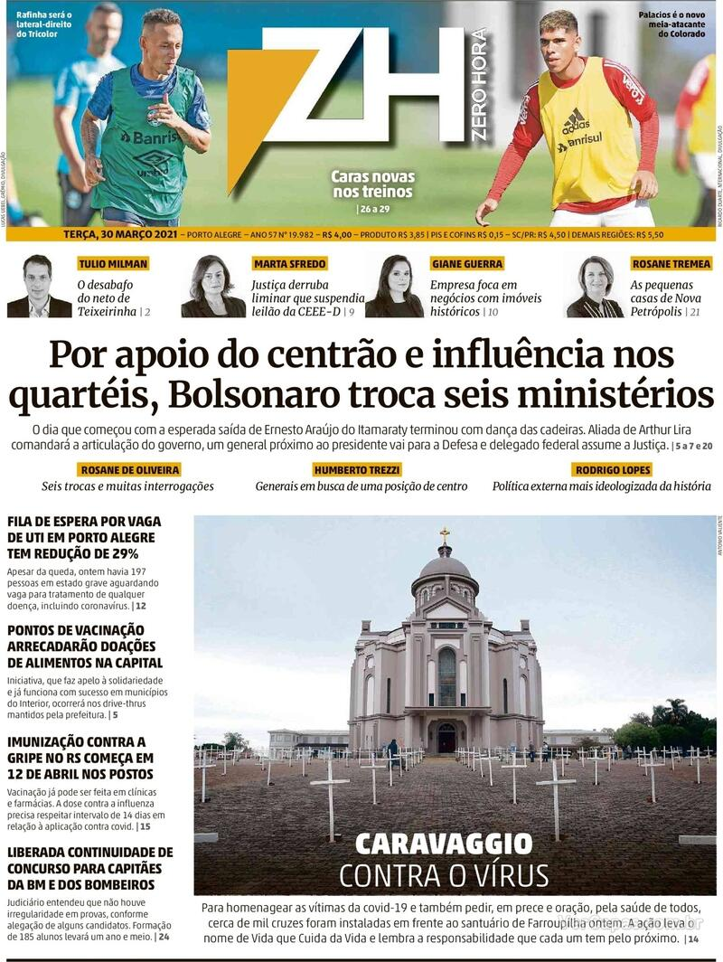 Capa do jornal Zero Hora 31/03/2021