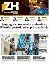 Capa do jornal Zero Hora 05/04/2021