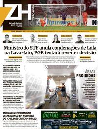 Capa do jornal Zero Hora 09/03/2021