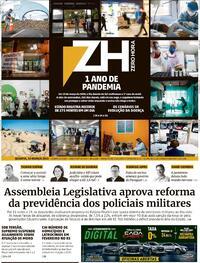 Capa do jornal Zero Hora 10/03/2021