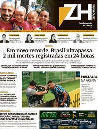 Capa do jornal Zero Hora 11/03/2021