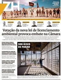Capa do jornal Zero Hora 11/05/2021