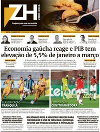 Capa do jornal Zero Hora 11/06/2021